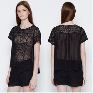 JOIE Sheer silk lace top